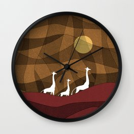 Beautiful warm giraffe family design Wall Clock