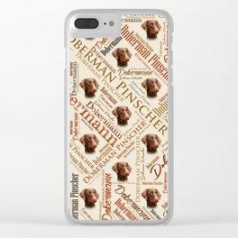 Dobermann Word Art Clear iPhone Case