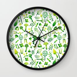 Funny pattern with mushrooms Wall Clock