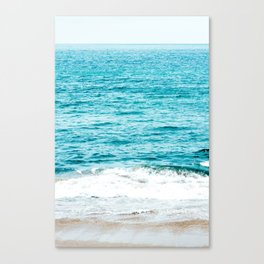 Teal Ocean Wave Photography Canvas Print