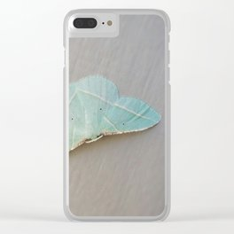 Pale Green Moth Clear iPhone Case