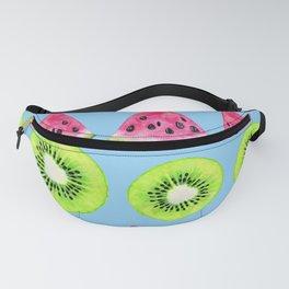 Watermelon And Kiwi Starfruit Pattern On Playful Blue Fanny Pack