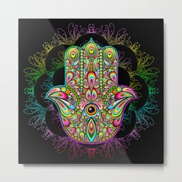 Hamsa Hand Amulet Psychedelic Metal Print