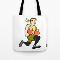 crossfit Tote Bags featuring Crossfit Runner With Kettlebell Cartoon by patrimonio