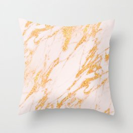 Gold Marble - Shimmery Glittery Rose Gold Marble Metallic Throw Pillow