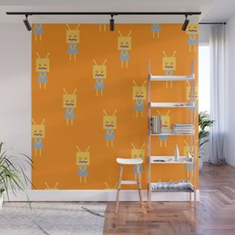 Shy Little Robot (orange) Wall Mural