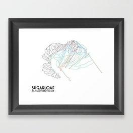 SugarLoaf, ME - Minimalist Trail Art Framed Art Print