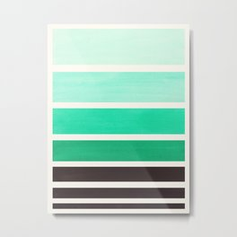 Light Teal Turquoise Green Minimalist Watercolor Mid Century Staggered Stripes Rothko Color Block Ge Metal Print