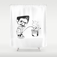 oitnb Shower Curtains featuring Porn Stache  by Medieval_Siren