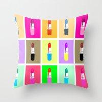 lipstick Throw Pillows featuring Lipstick by Scout Garbaczewski