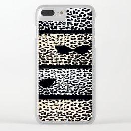 ANIMAL PRINT CHEETAH DIVA BLACK AND WHITE Clear iPhone Case