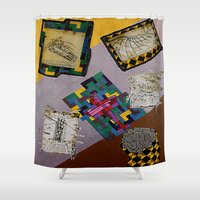da vinci Shower Curtains featuring Tribute to Leonardo da Vinci by Art By Carob