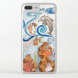 Ocean Zentangle Clear iPhone Case