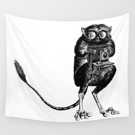 Say Cheese! | Tarsier with Vintage Camera | Black and White Wall Tapestry