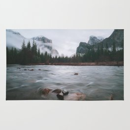 Yosemite Valley View with Fog | Yosemite National Park, CA Rug