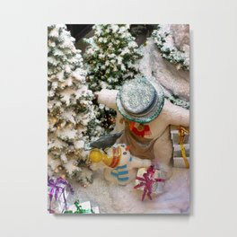 Can i open it now daddy?(Snowman family) Metal Print