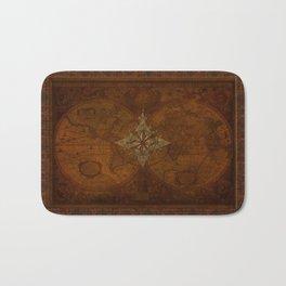Antique Steampunk Compass Rose & Map Bath Mat