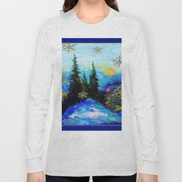 Blue Snowy Mountain Scenic Landscape Long Sleeve T-shirt