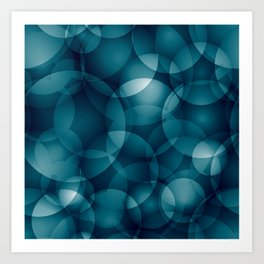 Dark intersecting heavenly translucent circles in bright colors with the blue glow of the ocean. Art Print