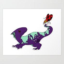 Purple Parasaurolophus Art Print