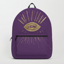 Evil Eye Gold on Purple #1 #drawing #decor #art #society6 Backpack