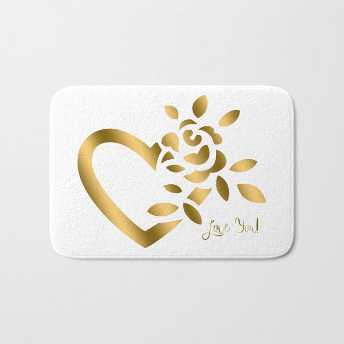 Gold Valentine Heart and Rose Bath Mat