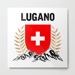 Lugano Swiss Flag TShirt Swiss Alps Shirt Switzerland Gift Idea  Metal Print