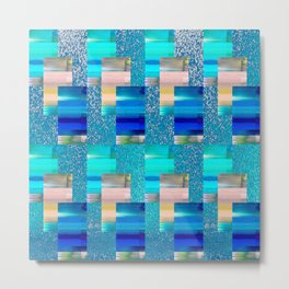 Geometric Glitter Rectangle Dimension in Cool Hues Metal Print