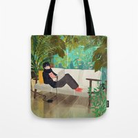jungle Tote Bags featuring jungle by Lara Paulussen