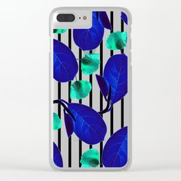 Blue Leaves + Aqua Poppies Clear iPhone Case