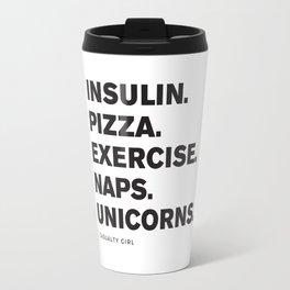 Insulin Pizza Naps (Black on White) Travel Mug