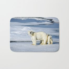 Phenomenal Polar Bear Mother With Two Adorable Little Cubs Ultra HD Bath Mat