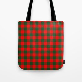 Jumbo Holly Red and Balsam Green Christmas Country Cabin Buffalo Check Tote Bag