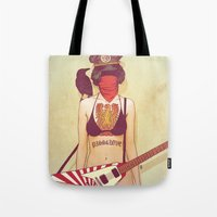 punk rock Tote Bags featuring Punk Rock Raven by FlushDelay