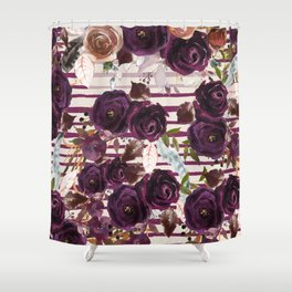 Watercolor ivory purple burgundy brown floral stripes Shower Curtain