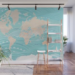 Detailed world map with waves Wall Mural