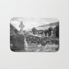 Halloween Graveyard | Horror | Black and White Cemetery | Gothic Graves | Bath Mat