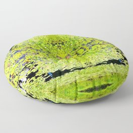 Abstract Pond and Lily Pads 1399 Floor Pillow