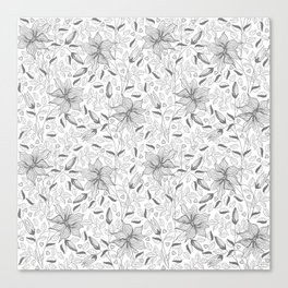 FLOWERS, PETALS AND HEARTS - GRAY Canvas Print