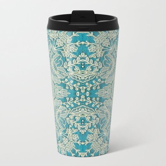 floral lace on blue Metal Travel Mug