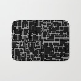 Circuitry - Abstract, geometric, black and white Bath Mat