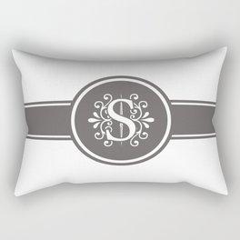 Monogram Letter S in Gray and White Rectangular Pillow