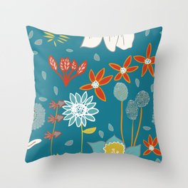 Happy Flowers Collection Throw Pillow