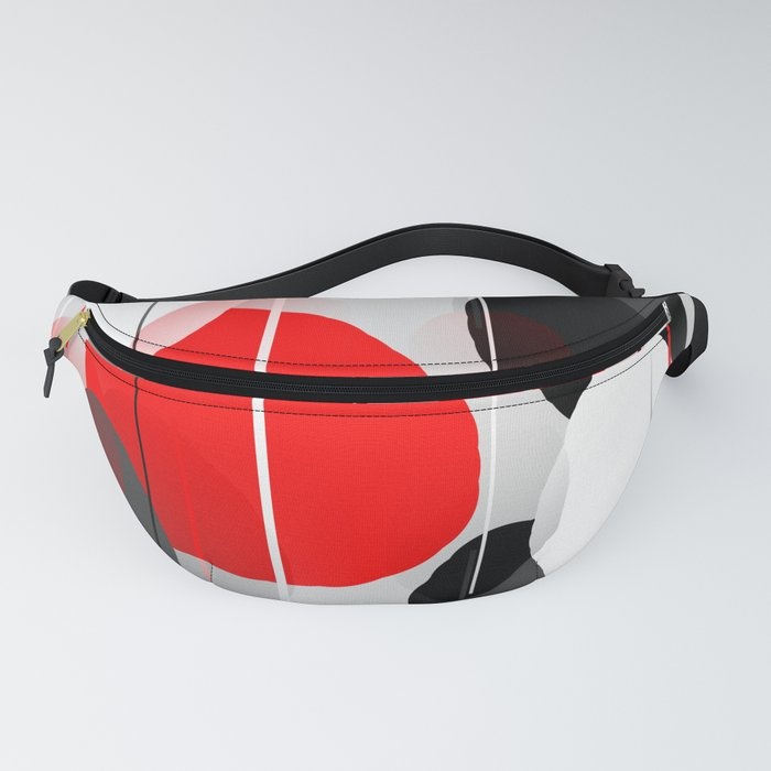 Modern Anxiety Abstract - Red, Black, Gray Fanny Pack
