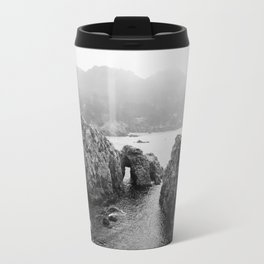 Ocean Arches - Black and White Landscape Photography Travel Mug