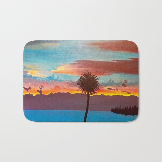 The Beautiful Key West Sun is captured in this ocean sunset painting Bath Mat