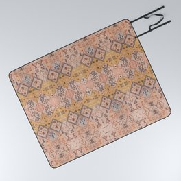 N218 - Mustard Yellow Oriental Heritage Boho Traditional Moroccan Desert Style Picnic Blanket
