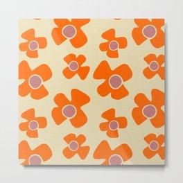 New Flower Daisy Beige Orange Metal Print