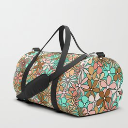 Mid Century Modern Flower Power Hippie Colors - Turquoise Cyan, Peach, Pink, Coral, Brown  Duffle Bag