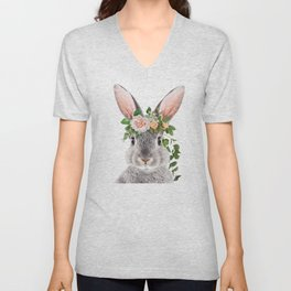 Baby Rabbit, Bunny With Flower Crown, Baby Animals Art Print By Synplus Unisex V-Neck